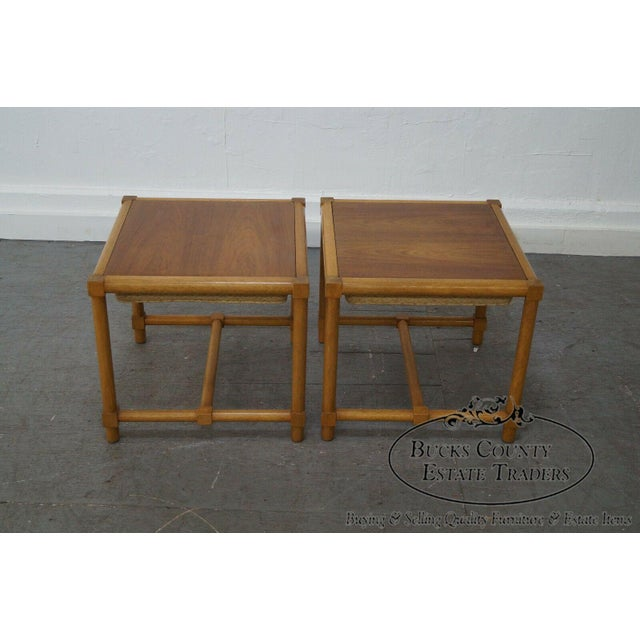 1960s Tommi Parzinger Pair of Stools Reverse Top Low Tables For Sale - Image 5 of 11
