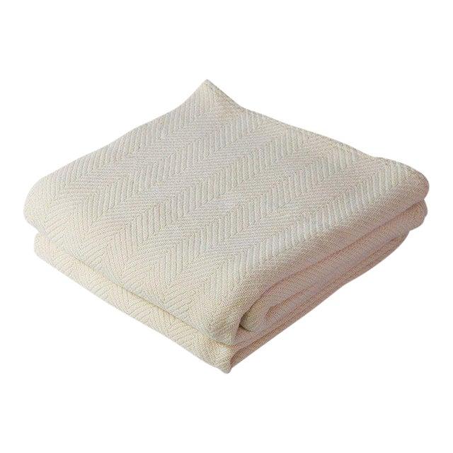 Contemporary Natural Full/Queen Herringbone Blanket For Sale