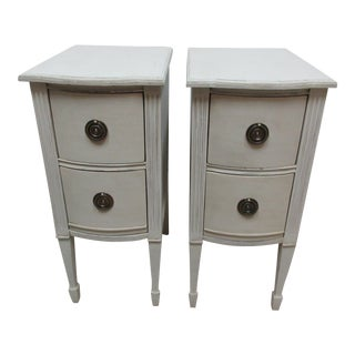 Gustavian Style White Nightstands - a Pair For Sale
