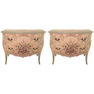 Pair of Charming Hand-Painted Italian Chest of Drawers Commodes For Sale
