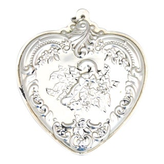 Wallace Sterling Christmas Heart Ornament With Candy Cane For Sale