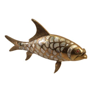 Large Brass and Mother of Pearl Fish For Sale