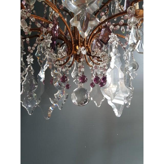 1930s Crystal Chandelier Antique Ceiling Lamp Murano Florentiner Lustre Art Nouveau Purple For Sale - Image 5 of 11