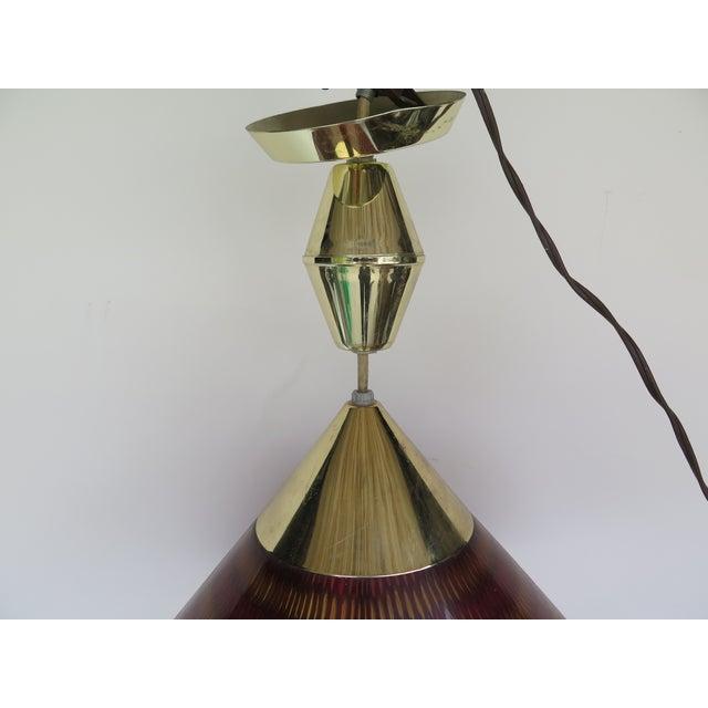 1960s Vintage Lucite and Brass Pendant Light For Sale - Image 4 of 6