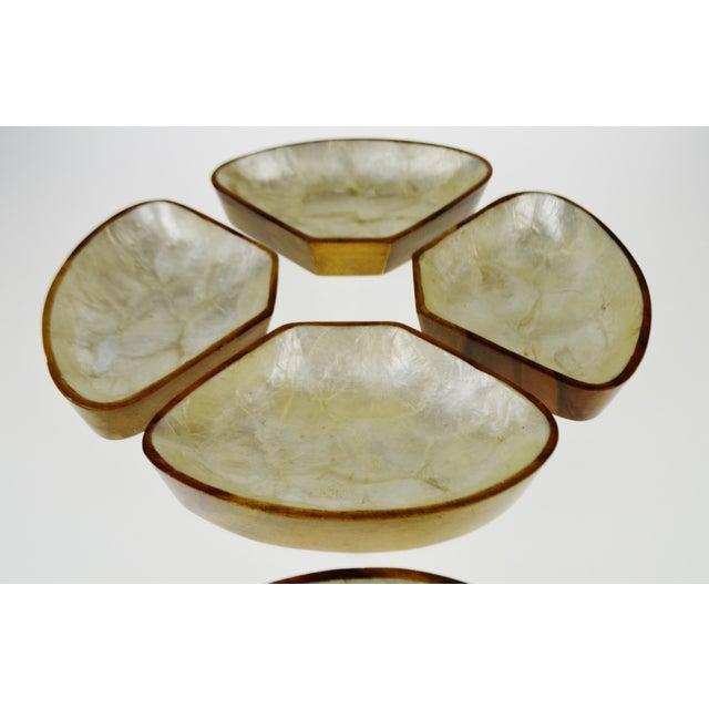 Mid Century Monkey Pod Wood and Capiz Shell Snack Bowls - Image 5 of 11