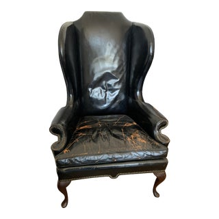 Fritz Hollander Black Leather Wingback Chair For Sale