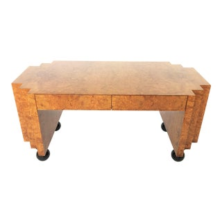 Unusual Burl Wood Writing Table or Desk With Black Lacquer Legs For Sale