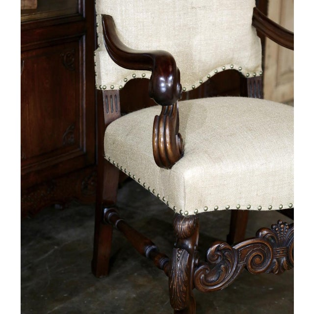 19th Century French Walnut Louis XIV Armchair For Sale - Image 10 of 13