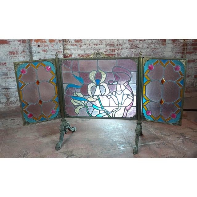 """Gorgeous Art Nouveau Bronze & Stained Glass Fireplace screen size 30 x 23 x 33"""" Excellent - Minor wear consistent with age..."""