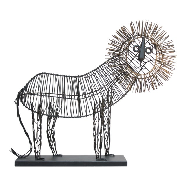 Brutalist Style Lion Wire Scupture For Sale