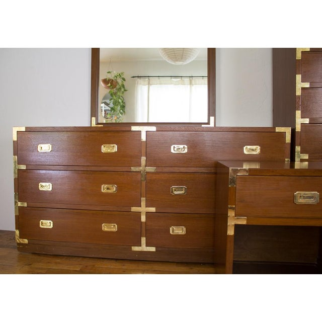 Veneer Mid Century Low Boy Campaign Dresser with Detachable Mirror For Sale - Image 7 of 11