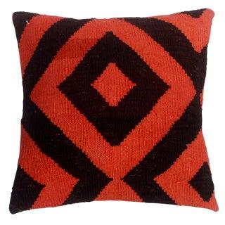 "Dian Black/Orange Hand-Woven Kilim Throw Pillow(18""x18"") For Sale"