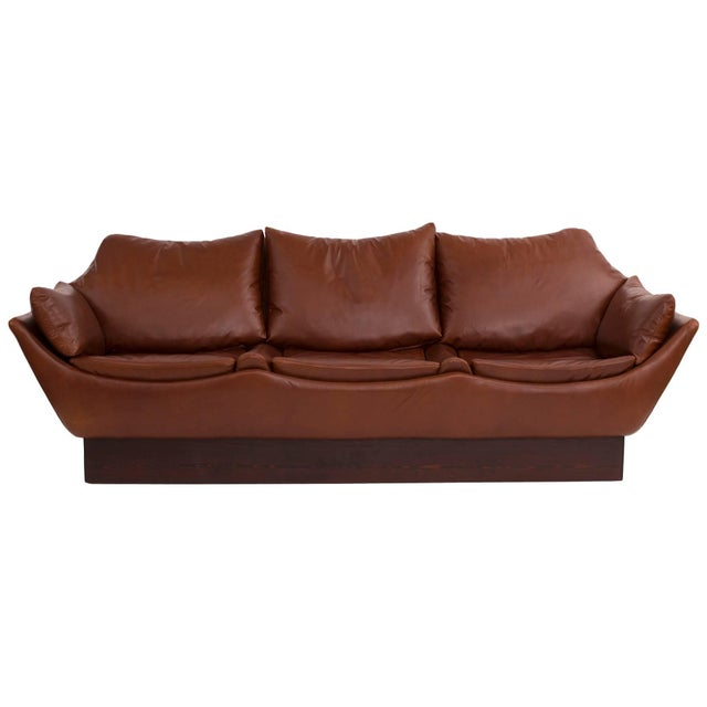 Leather Sculptural Danish Leather & Down Sofa For Sale - Image 7 of 7