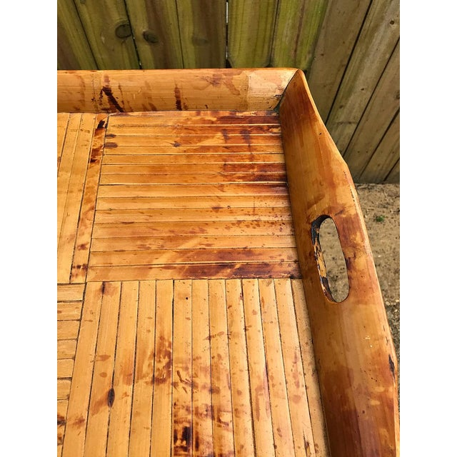 Wood 1970s Asian Modern Bamboo Tray Table With Folding Base For Sale - Image 7 of 9