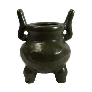 Chinese Handmade Dark Olive Army Green Ceramic Accent Ding Holder For Sale