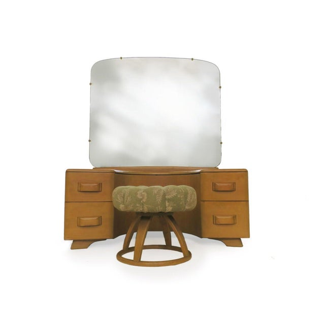 Vintage Mid Century Heywood Wakefield Riviera Vanity With Mirror & Pouff For Sale - Image 12 of 12