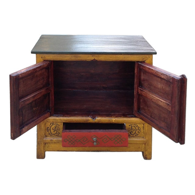 Chinese Yellow Red Floral Graphic Table Cabinet - Image 4 of 5