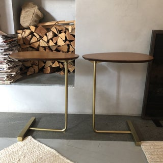 On Sale - Brass and Wood C Tables - a Pair Preview
