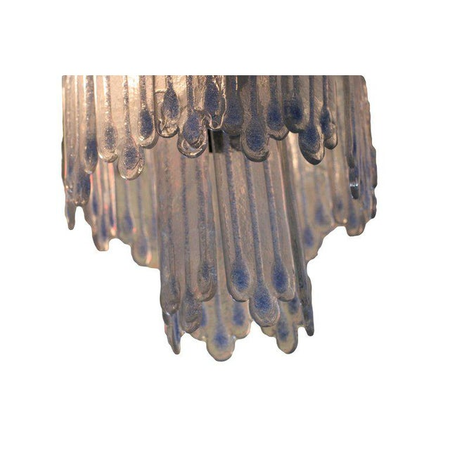Mid-Century Modern Mid-Century Opaline Murano Glass Chandelier Attributed to Mazzega For Sale - Image 3 of 6