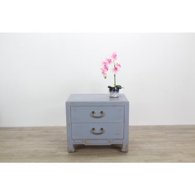 Pair of Mid-Century Modern nightstands This lovely pair of 2- Drawers nightstands have been nicely painted in gray and...