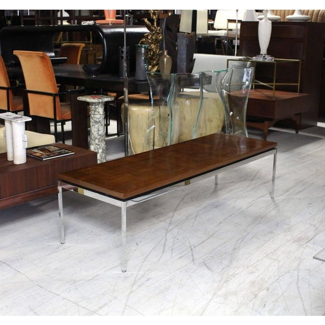 Contemporary Solid Stainless Steel With Parquet Top Rectangular Coffee Table For Sale - Image 3 of 8