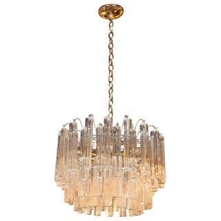 Mid-Century Modern Four-Tier Handblown Camer Chandelier With Brass Fittings For Sale