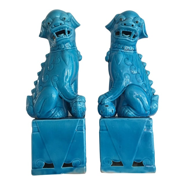 Porcelain Turquoise Foo Dogs - A Pair - Image 1 of 6