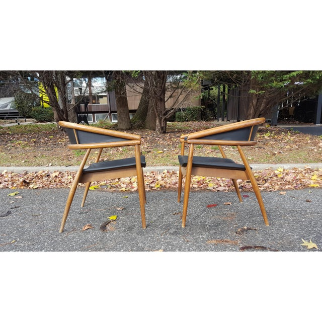 Wood James Mont Vintage Mid-Century Lounge Chairs - A Pair For Sale - Image 7 of 7