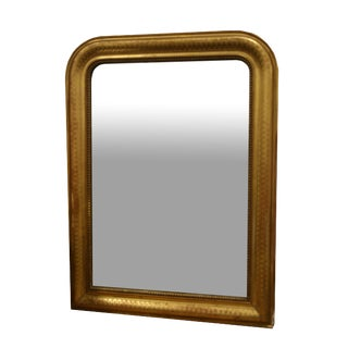 Gold Leaf Louis Philippe Mirror With Diamond Design For Sale