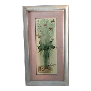Original Philippe Henri Noyer Flowers in a Vase, 1960s