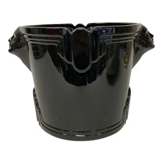 Vintage Fitz & Floyd Black Deco Centerpiece Wine Bucket For Sale