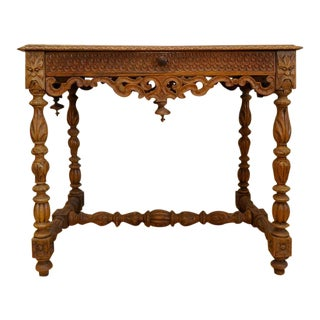 19th Century English Oak Carved Occasional Table For Sale