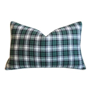 Green, Black & White Tartan Plaid Feather/Down Pillow For Sale