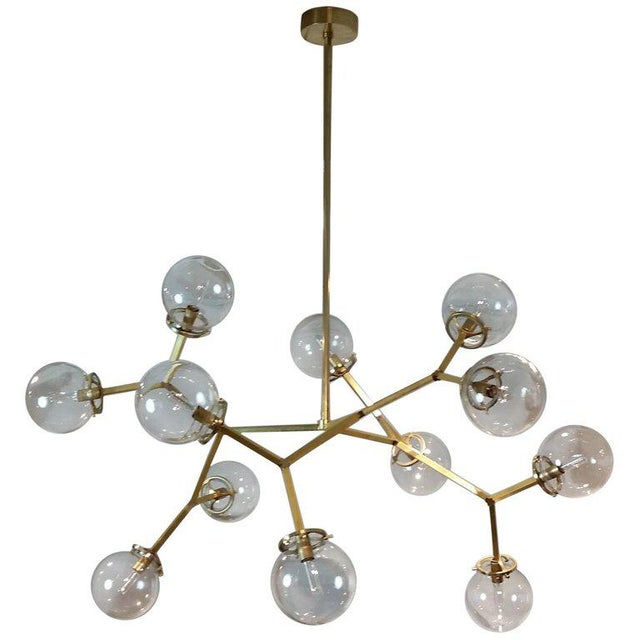 """Not Yet Made - Made To Order Brass & Glass Model 525 """"Macro Molecular"""" Chandelier by Blueprint Lighting, 2018 For Sale - Image 5 of 5"""