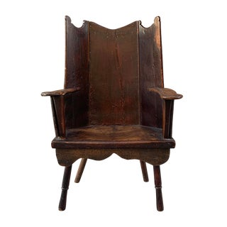 18th Century English Oak Wingback Chair For Sale