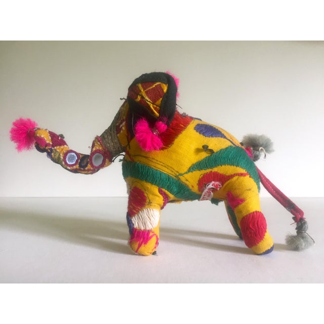 Green Vintage Indian Patchwork Elephant Figurine For Sale - Image 8 of 11