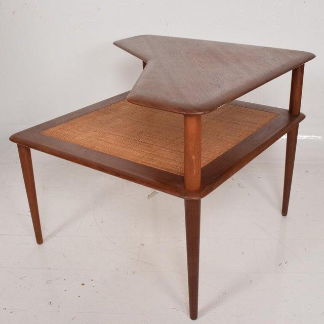 France & Sons Peter Hvidt Corner Teak Cane Table Danish Modern Daverkosen For Sale - Image 9 of 9