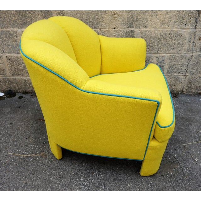 Vintage 80s Yellow Club Chair & Ottoman - Image 5 of 8