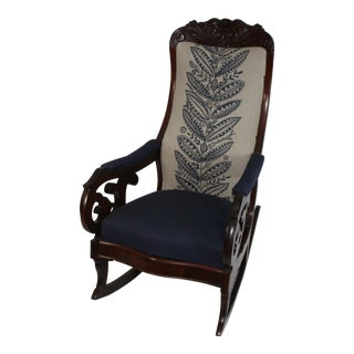 1900s Art Nouveau Antique Rocking Chair With Schumacher Upholstery For Sale