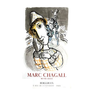 """Marc Chagall the Circus With the Yellow Clown 34"""" X 22"""" Lithograph 1967 Modernism Yellow, Gray Clown For Sale"""