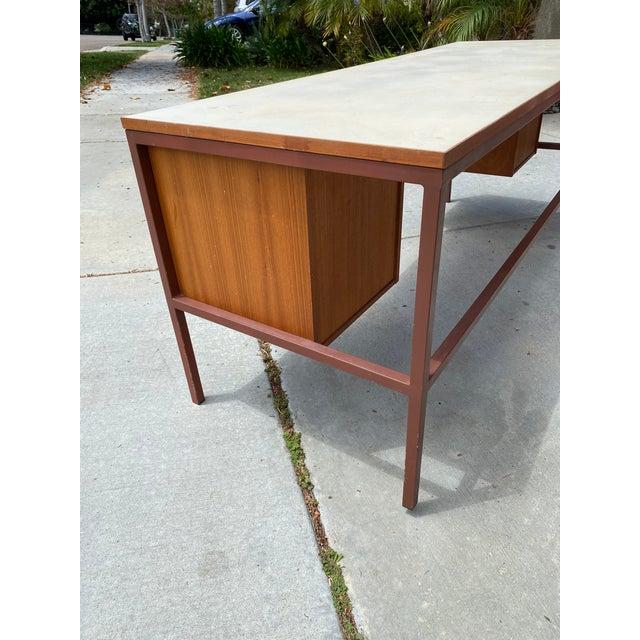 Metal Jens Risom Early Teak, Metal and Vinyl Oversized Desk For Sale - Image 7 of 12