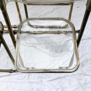 1960s Vintage Gold Plia Folding Lucite Chairs in the Style of Giancarlo Pirett- Set of 4 Preview