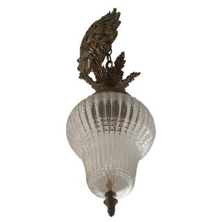 Neoclassical Pear Shape Crystal and Bronze Chandelier For Sale