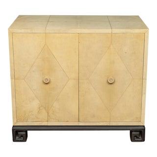 Samuel Marx Style Parchment Clad Cabinet For Sale