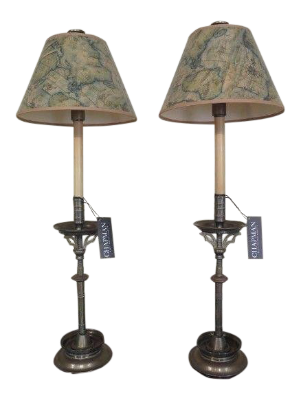 Chapman Solid Brass Table Lamps With Shades A Pair Chairish