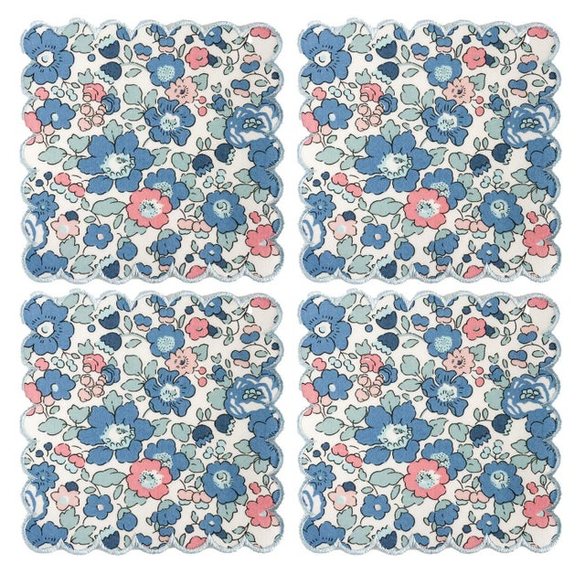 Not Yet Made - Made To Order Liberty of London Scalloped Cocktail Napkins Betsy Blue with Baby Blue Trim - Set of 4 For Sale - Image 5 of 5