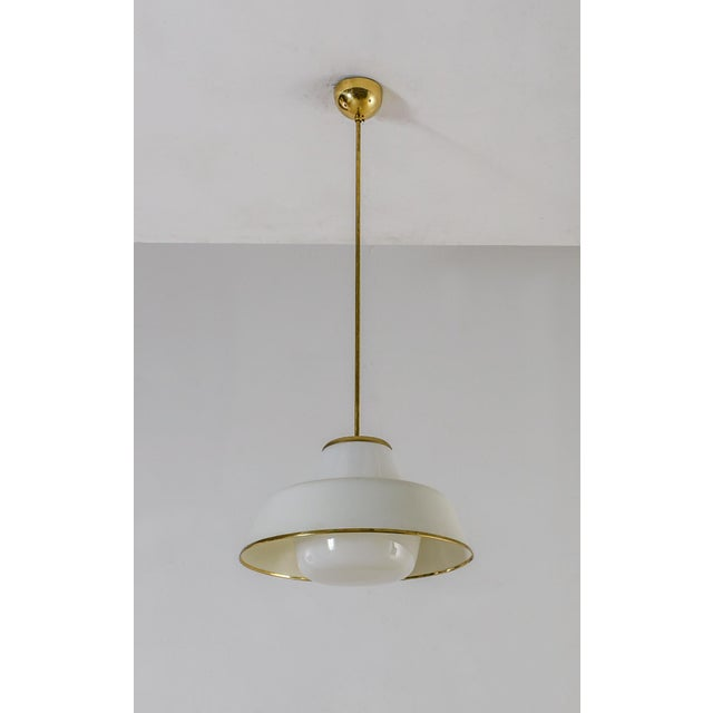 Stockmann Orno White Glass and Brass Pendant by Lisa Johansson-Pape for Orno, 3 available For Sale - Image 4 of 7