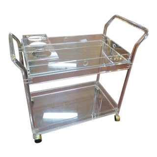 1960s Vintage Mid Century Modern Lucite Bar Cart For Sale
