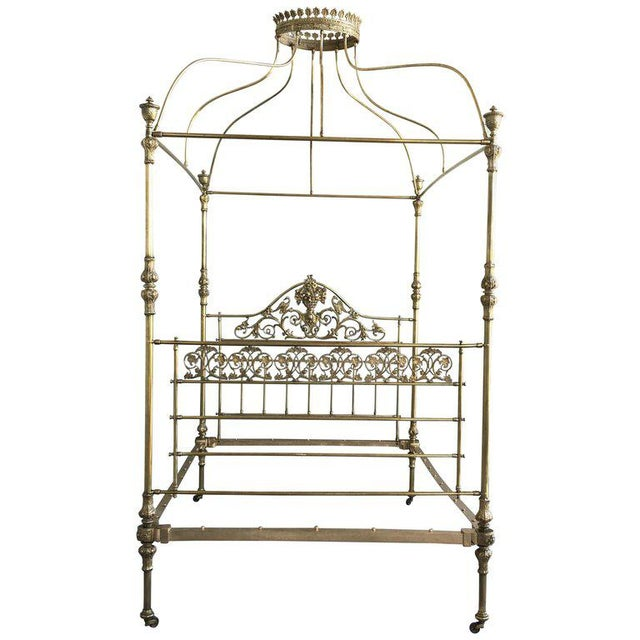 19th Wide Brass Four Poster Bed With Bird Castings, Ornamental Motifs and Crown For Sale - Image 13 of 13
