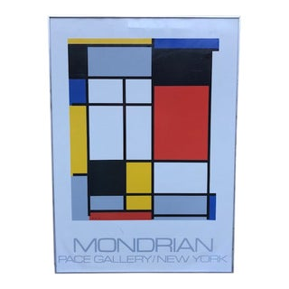 """1970s Vintage Mondrian """"The Process Works"""" Original Pace Gallery, New York Poster For Sale"""